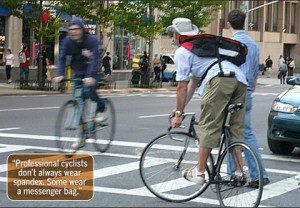 cyclists wear messenger bags