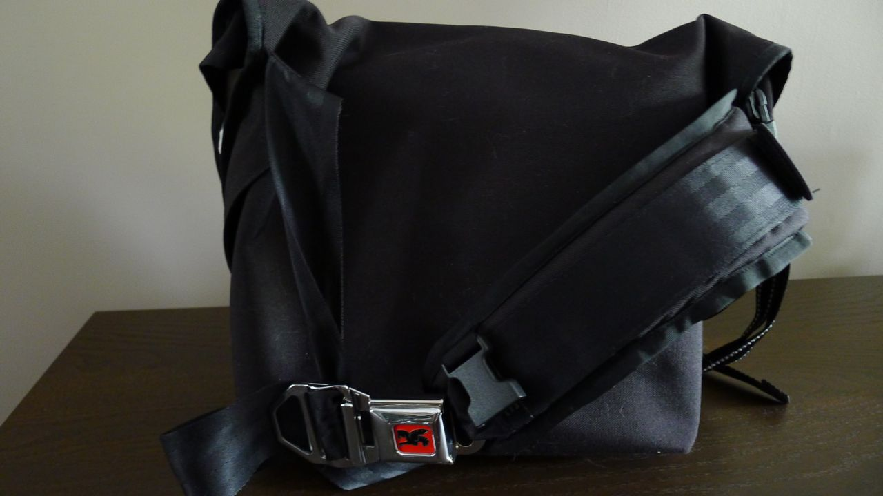 Chrome Messenger Bag Shoulder Strap And Buckle