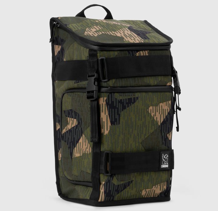 The Niko messenger backpack in camo with reflective strips