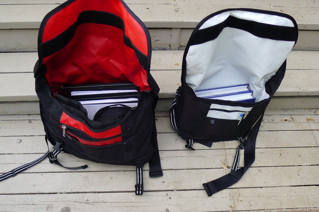 Comparing the amount of gear you can fit in the large (left) and medium (right) chrome bag sizes